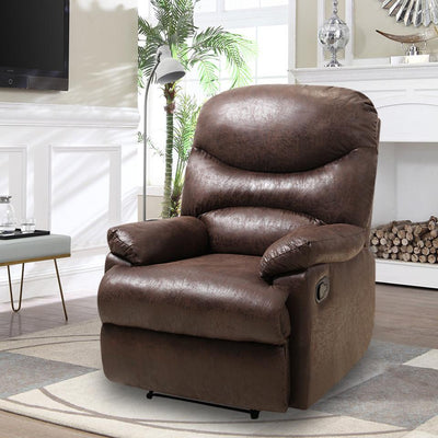 Faux Leather Style Manual Adjustable Recliner Chair