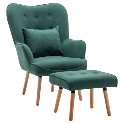 Retro Wingback Velvet Buttoned Armchair Lounge Chair & Footstool