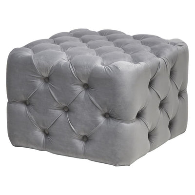 Chesterfield Square Buttons Velvet Footstool Ottoman Coffee Table