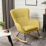 Swing Linen Fabric Velvet Recliner Rocking Chair