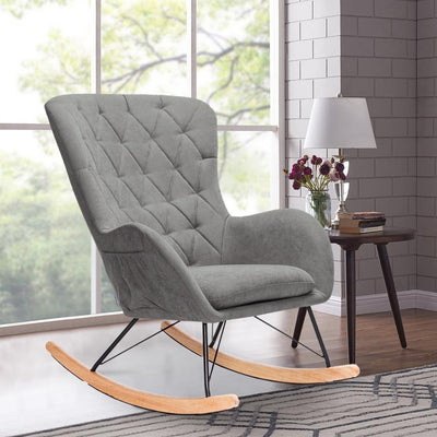 Upholstery Linen Fabric Velvet Rocking Chair Recliner