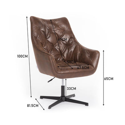 PU Leather Button Swivel Adjustable Home Office Barber Chair