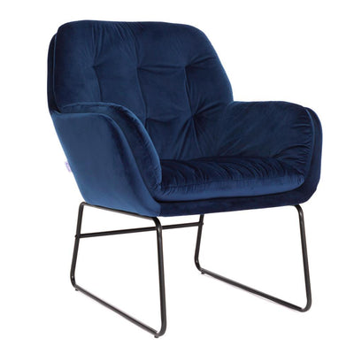 Velvet Button Tub Accent Metal Legs Armchair Dining Chair