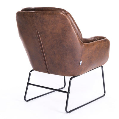 Leather Style Tub Accent Metal Legs Armchair Dining Chair