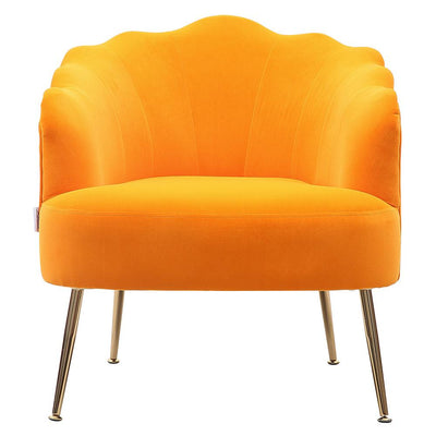 Shell-Shaped Chair Matte Velvet Upholstery Armchair