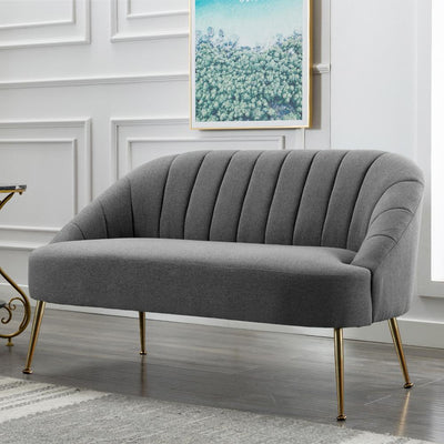 2 Seater Shell Velvet Matte Upholstered Sofa Tub Armchair