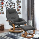 PU Leather Recliner Swivel Executive Armchair Lounge Chair with Footstool