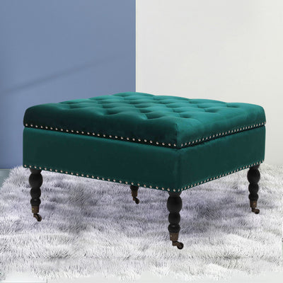 Large Square Storage Ottoman Coffee Table Makeup Pouffe Stool with Wheels