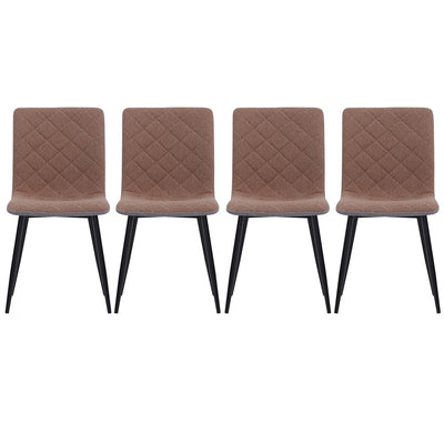 4pcs Fabric/Leather/Velvet Padded Seat Dining Chairs Metal Legs Kitchen Home Office