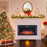 Electric Digital 7Flame LED Fireplace Wall Inset Fire Heater Stove w/Remote Wifi