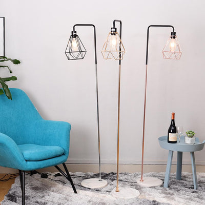 Nordic Industrial Metal Floor Lamp Marble Stand Reading Light