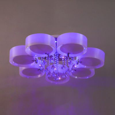 Acrylic Crystal Round Chandelier 5 Colour Changing 7 Way Ceiling Light Lampshade & Remote