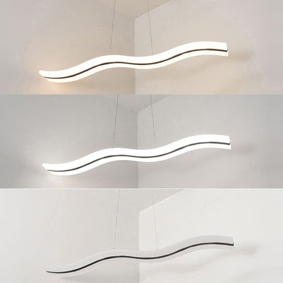 Modern LED Wave Ceiling Light Dimmable/Cool White Light Lamp Living Room Chandelier