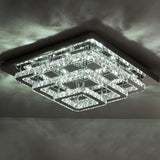 96W Cool White/Dimmable LED Ceiling Light Square Stainless Steel Crystal Flush Chandelier