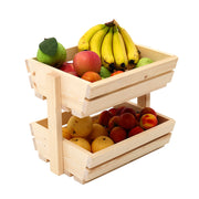 2/3 Tier Wood Fruits Vegetable Baskets Buffet Food Storage Rack Display Stand
