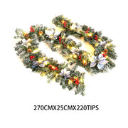9FT/2.7M Christmas Garland LED Lights Xmas Tree Fireside Door Stair Wreath Decor