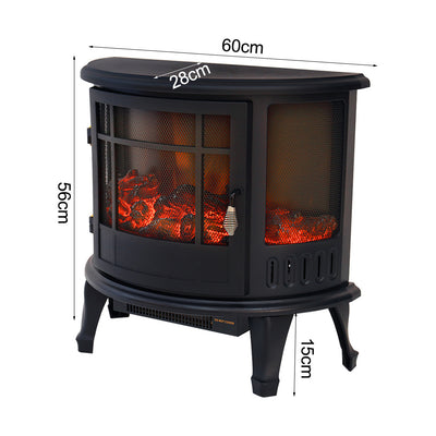 Freestanding Semicircular Electric Fireplace 3D Wood Flame Effect Stove 1800W