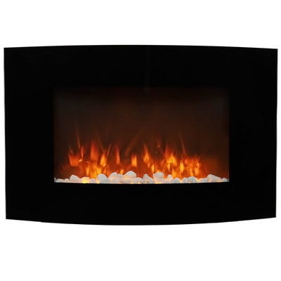 35 Inch Wall Mounted Electric Fireplace Heater Pebble LED Flame Effect Remote