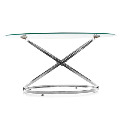 Round Tempered Glass Lounge Coffee Table Side Table Chrome Base