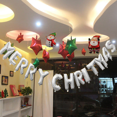 "16"" Foil Balloons Merry Christmas Party Banner with Straw for Easy Inflation"