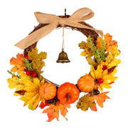 Autumn Harvest Hanging Pumpkin Garland Wreath w/Bell For Halloween Party Decor