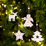 4pcs Wood Christmas Tree Cartoon Angel Deer Tree Pentagram Decor