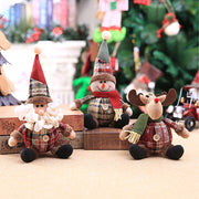3pcs Xmas Snowman Santa Claus Reindeer Dolls Tabletop Ornament