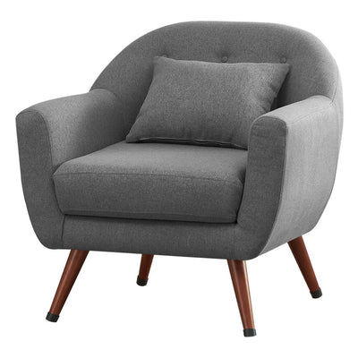 Velvet Accent Lounge Armchair Tufted Upholstered Leisure Armchair with Pillow