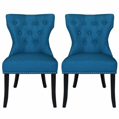 Set of 2 Dining Chairs Padded Seat Wood Legs Cushion Stud Seat Kitchen Bar