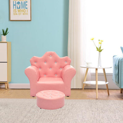 Crown Back Crystal Buttons Kids Armchair Footstools