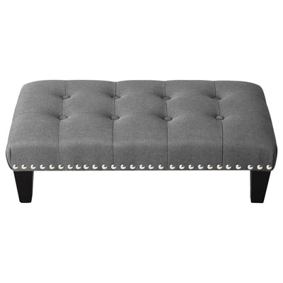 Large Buttoned Linen footstool - Lifelook Store