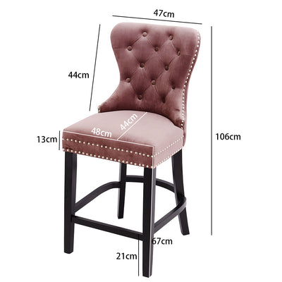 Buttoned Upholstered Velvet Bar Stool