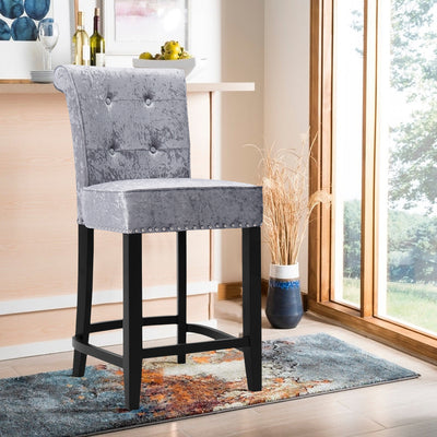 Knocker Upholstered Ice Crushed Velvet Bar Stool