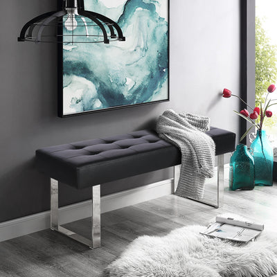 Black Tufted PU Upholstered Bench
