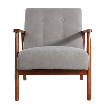 Mid Century Modern Dark Wood Framed Linen Upholstered Armchair, Sofa