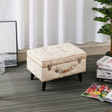 Retro Diamond Ice Crushed Velvet Storage Trunk Stool