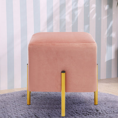 Chic Square Velet Accent Upholstered Footstool with Metal Legs