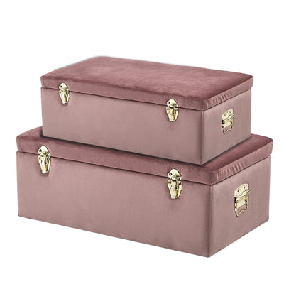 Set of 2 Versatile Vintage Style Velvet Home Storage Trunk
