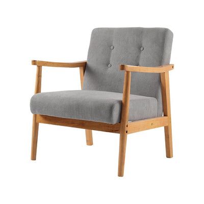 1 Seater Armchair Wood Frame Linen Fabric Accent Chair