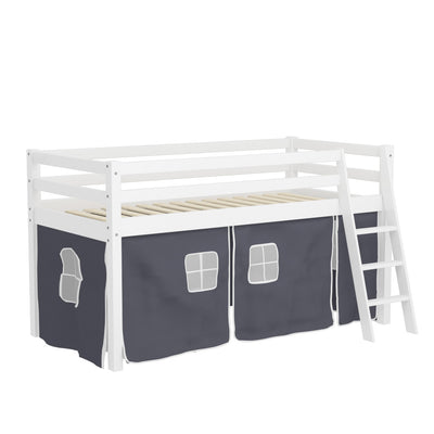 Kids Pine Wooden Twin Loft Bed with Desk Ladder and Guardrails
