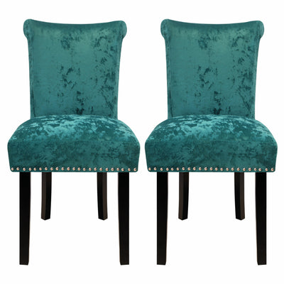 Set of 2 Velvet Dining Chairs Upholstered Accent Chair Knocker Ring Stud Kitchen Lounge