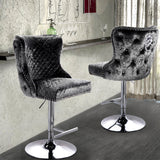 Crushed Velvet Padded Bar Stool Swivel Gas Lift Tufted Pub Stool