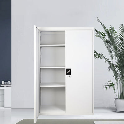 Office 2 Doors Filing Cabinet Metal Lockable Document Storage Cupboard Furniture