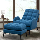 Upholstered Matte Velvet Sleeper Armchair Recliner Sofa Lounge Chair with Footstool