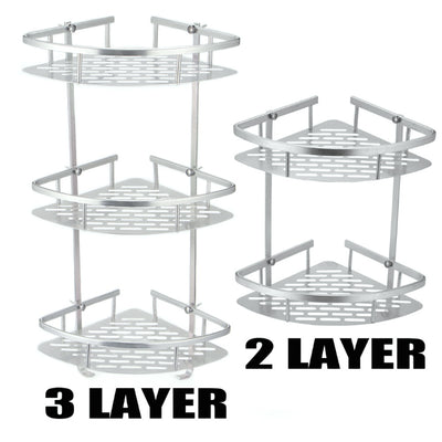 2/3Tier Corner Storage Shower Rack Shelf Bathroom Caddy Basket