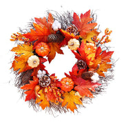 Autumn Maple Leaf Pumpkin Wreath Halloween Home Party Decor