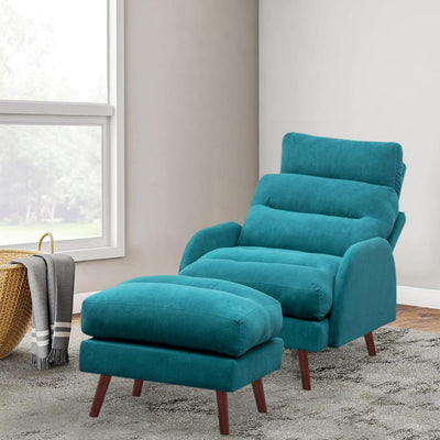 Matte Velvet Upholstered Armchair Reclining Lounge Chair Couch Sofa with Footstool