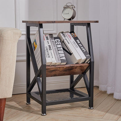 Wooden Corner Bedside Table Side End Table Nightstand