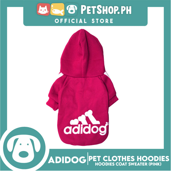Adidog Pet Clothes Hoodies, Dog Winter Hoodies Apparel Puppy Cute Warm Hoodies Coat Sweater (Pink) (Large)