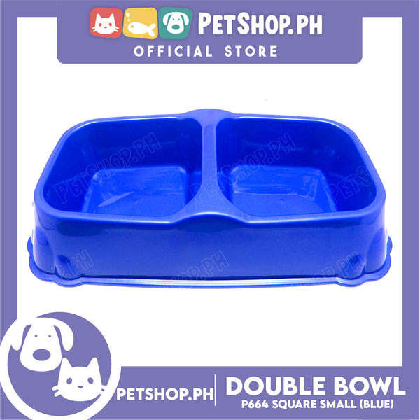 Petshop.ph P664 Square Double Bowl Small Blue